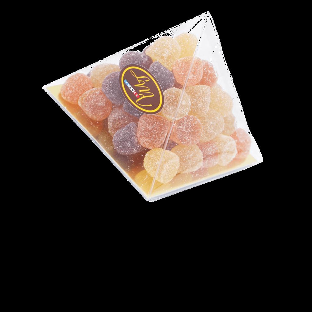 Pyramide de pâtes de fruit - Framboise, poire et abricot