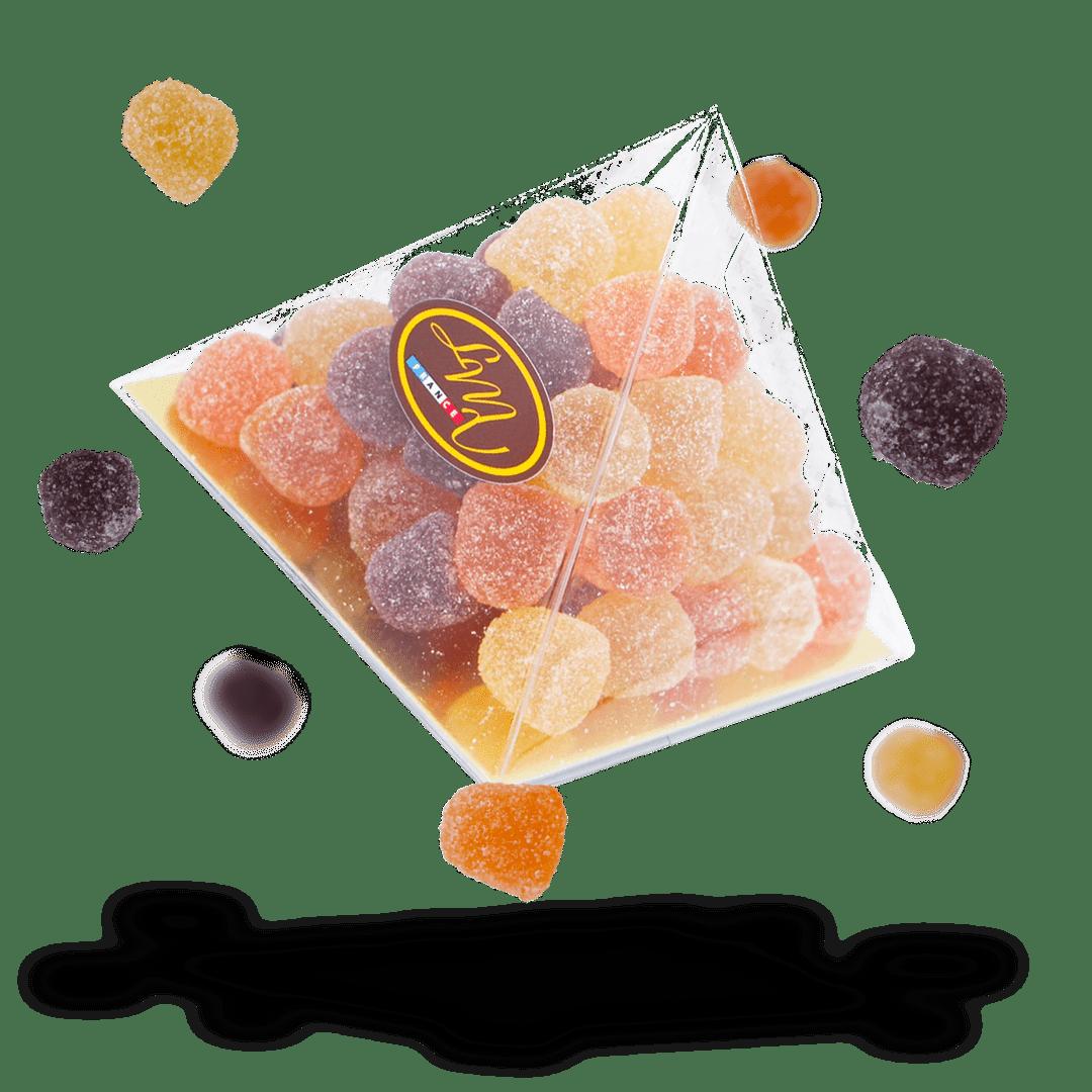 Pyramide - Pâtes de fruits framboise, poire et abricot